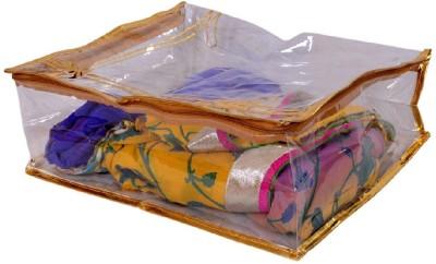 PRETTY KRAFTS B1112_Golden Sari cover Large transparent golden with Bow | capacity 8 sarees B1112_Golden