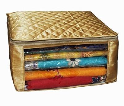 Kuber Industries Designer Saree cover Set Of 6 Pcs large size in golden satin Wedding Gift SC071