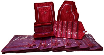Kuber Industries Designer Wedding Gift, 10pcs New Combo, 6 Saree Cover, Jewellery, Payal, Petticoat And Blouse Cover MKU00012005