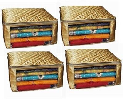 Kuber Industries Designer Saree cover large size in golden satin Set of 4 Pcs Wedding Gift sc024