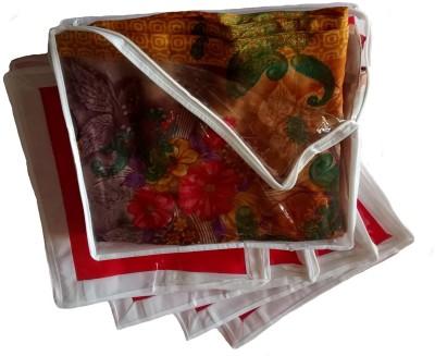 Indi Bargain Plain Medium Sized Combo of 5 Transparent Multi Saree Cover