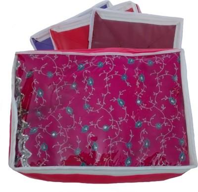 Indi Bargain Plain color set of 4 tranaparent multi saree cover