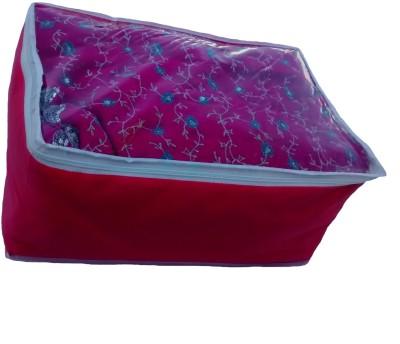 Indi Bargain Plain Pink transparent multi saree cover