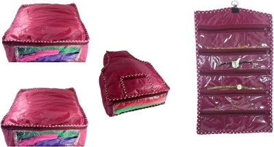 Addyz Plain Combo Of 2 Saree Covers And 1 Blouse Cover With 1 Watch Anklets Cover Storage Multipurpose Bag