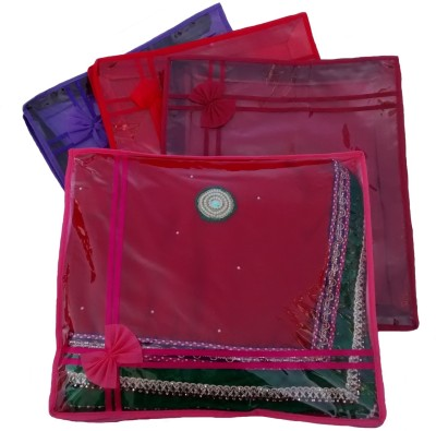 Indi Bargain Designer Multi color set of 4 tranaparent double saree cover