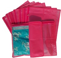 Indi Bargain Non Woven Single Saree Cover Set of 12(Pink)