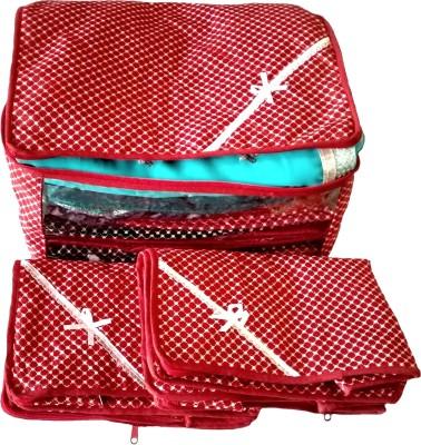 Indi Bargain Printed Red Combo of 3 Transparent Multi Saree Cover