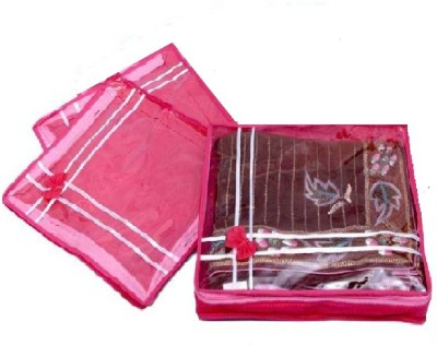 Addyz Plain Two inches pack of three saree salwar cloths cover keep 2 saree storage organizers cases(Pink)