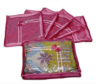 Kuber Industries Designer Saree cover 6 Pcs combo in Pink satin ,Wedding Collection Gift sc018