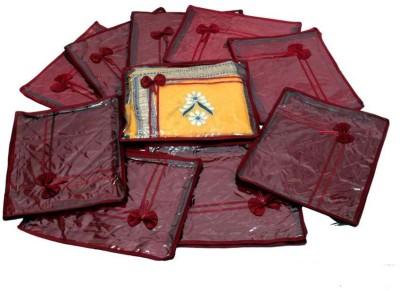 Kuber Industries Designer Saree Cover Quilted Satin 10 Pcs Set MKUSC142
