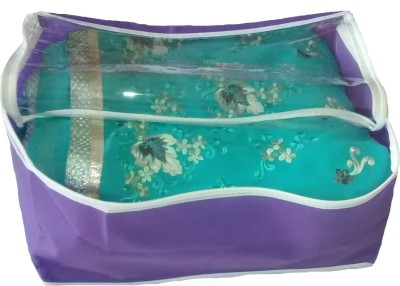 Indi Bargain Plain Purple transparent multi saree cover