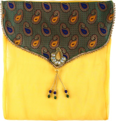 Art Horizons Designer Saree Covers in Yellow Made From Tissue & Brocate AHSCFYL01