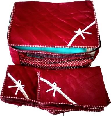 Indi Bargain Satin Maroon Combo of 3 Transparent Multi Saree Cover