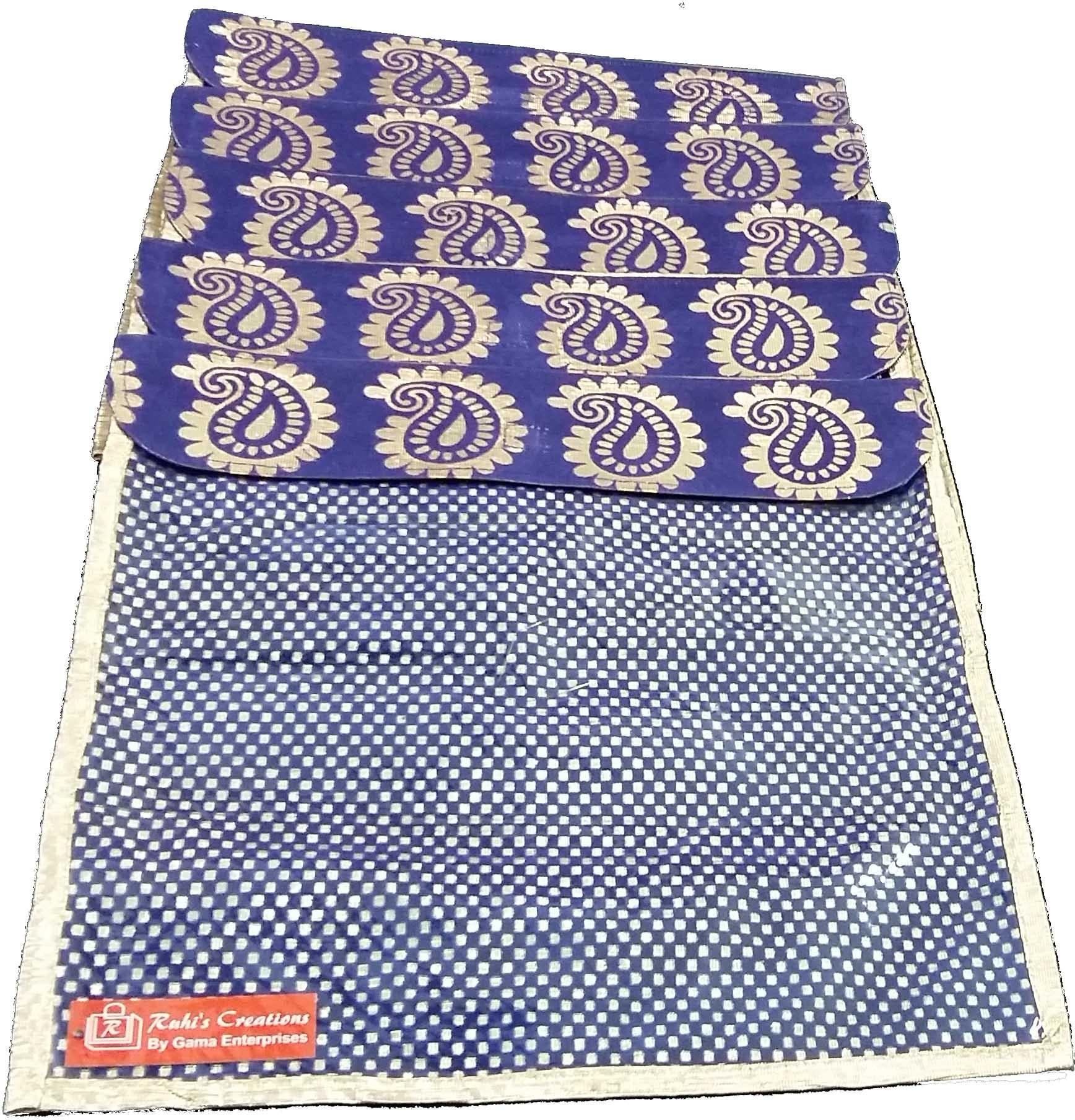 Ruhi's Creations Designer Brocade Saree Cover - Blue 7008(Blue)