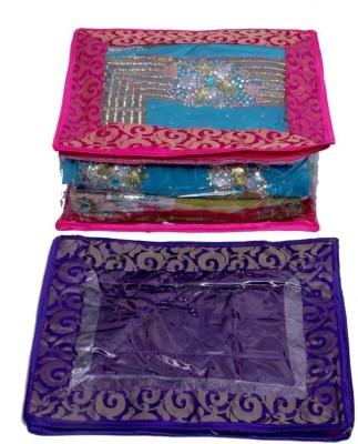 Kuber Industries Designer Saree cover 2 Pcs combo in Fancy transparent brocade MKU5060(Multicolor)