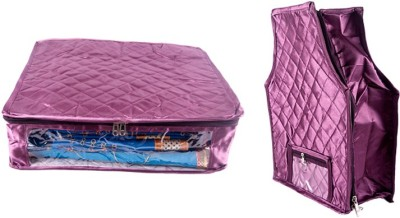 Annapurna Sales Designer 5 Inch Height Side Transparent Large Saree and Blouse Cover - Set of 2 Pcs. Purple00254