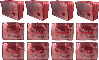 Annapurna Sales Designer Large and Small Saree Covers - Set of 12 Pcs. Maroon00130