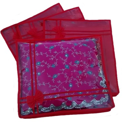Indi Bargain Designer Red set of 4 transparent double saree cover