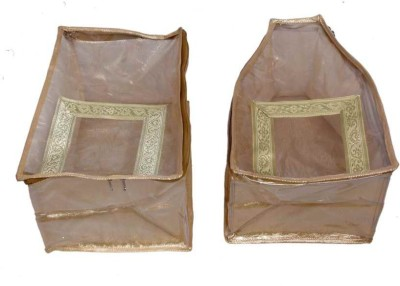 Kuber Industries Designer Blouse, Peticot Cover In Golden Brocade In Extra Large Size 2 Pcs Combo MKU0050085