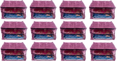 Annapurna Sales Designer 9 Inch Height Side Transparent Big Saree Covers - Set of 12 Pcs. Purple00223