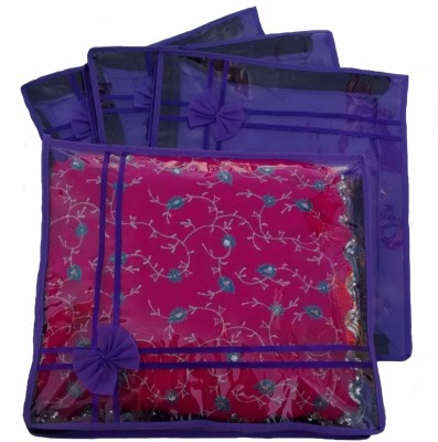 Indi Bargain Designer Purple set of 4 transparent double saree cover