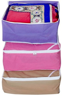 Kuber Industries Designer Kuber Industries Non woven Saree cover Set of 3 Pcs /Wardrobe Organiser/Regular Clothes Bag MKUSCM101