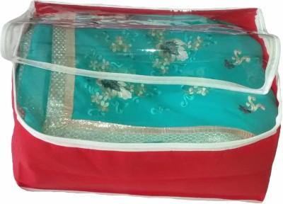 Indi Bargain Plain Red transparent multi saree cover