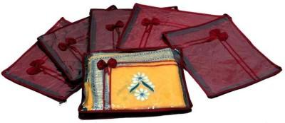 Kuber Industries Designer Saree Cover Quilted Satin 6 Pcs Set MKUSC141