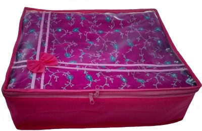 Indi Bargain Designer pink transparent multi saree cover