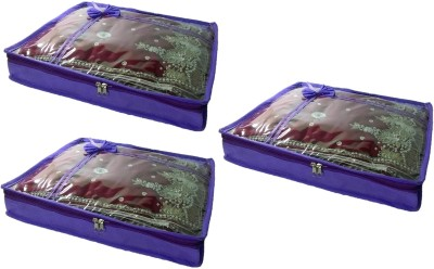 Addyz Pack of 3 Non Woven 2 inch Height Saree Covers Gift Organizer
