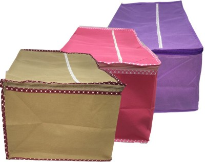 Angel Quilts Saree Cover AngelQuilts-10 Saree Cover 3 Piece Set (Red, Brown, Purple) Non Wooven ANGQUI-10