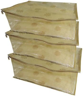Bagathon India Floral Golden Semi Transparent Multiple Saree/Lehenga/Suit Box Cover - Set of 3 BSC01