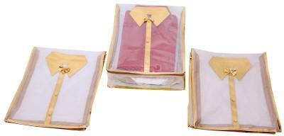 Kuber Industries Designer Kuber Industries Net Transparent Shirt Cover Set of 3 Pcs - Golden MKU006612