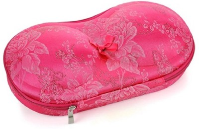 PackNBUY Printed Hard Shell PINK Floral Print BRA CASE TRA7_705