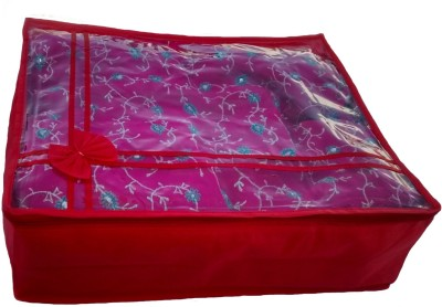 Indi Bargain Designer red transparent multi saree cover