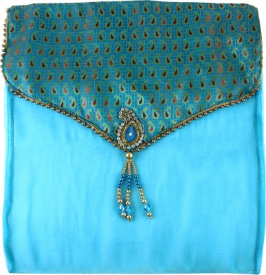 Art Horizons Designer Saree Covers in Tarqouise Made From Tissue & Brocate AHSCFTQ01
