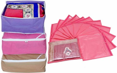 Ombags & More saree cover combo 3 and single saree cover pack of 12 bags&more04(Multicolor)