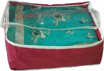 Indi Bargain Plain Maroon transparent multi saree cover
