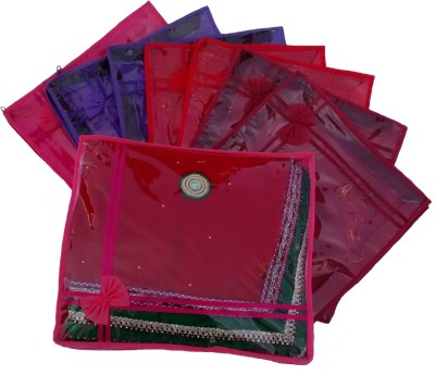 Indi Bargain Designer Multi color set of 8 transparent double saree cover