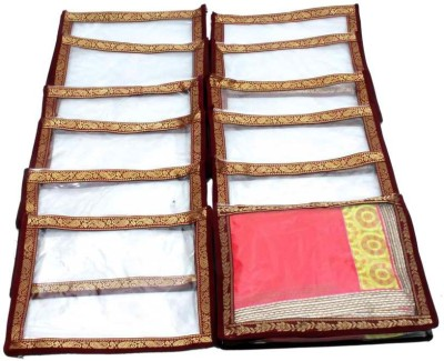 Kuber Industries Designer Saree cover with brocade lace Set of 12 Pcs MKUSC148