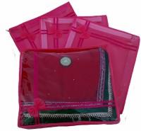 Indi Bargain Designer Pink set of 4 transparent double saree cover(Pink)
