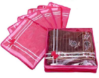 Addyz Plain pack of six saree salwar cloths cover keep 2 saree storage organizers cases