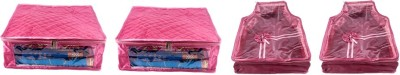 Annapurna Sales Designer 5 Inch Height Large Saree and Blouse Cover - Set of 4 Pcs. Pink00340