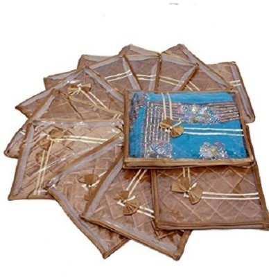 Kuber Industries Designer Saree cover 12 Pcs combo in Golden satin ,Wedding Collection Gift sc066