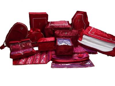 Kuber Industries Designer Wedding Gift, 14 Pcs Combo,Saree Cover, Jwellery,Payal, Vanity, Ug ,Blouse,Petticote Cover And 12 Saree Bag MKU0001201