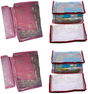 Fashion Bizz Premium Red And Pink Net Saree Cover Combo of 8 Pcs RPN8