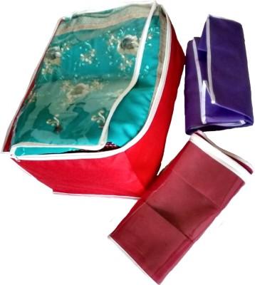 Indi Bargain Plain color set of 3 tranaparent multi saree cover