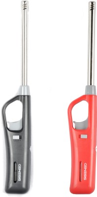 Genesis G_light_set_2 Plastic, Stainless Steel Gas Lighter(Red, Black, Pack of 2)