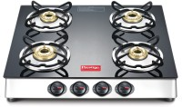 Prestige Marvel LP Gas Table with Glass Top Stainless Steel, Glass Manual Gas Stove(4 Burners)
