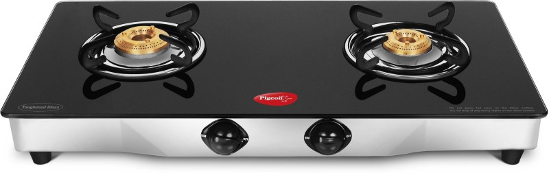 Pigeon Blackline Square Glass, Stainless Steel Manual Gas Stove(2 Burners)